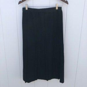 Ming Wang Medium Skirt Black Knit Knee Pleated